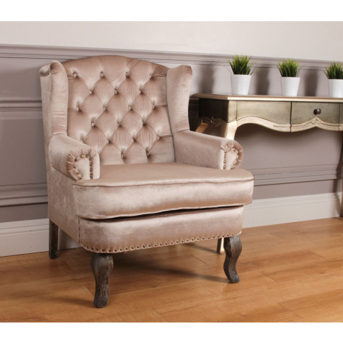 Wingback Champagne Fabric Armchair