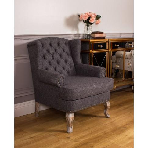 Wingback Grey Fabric Armchair
