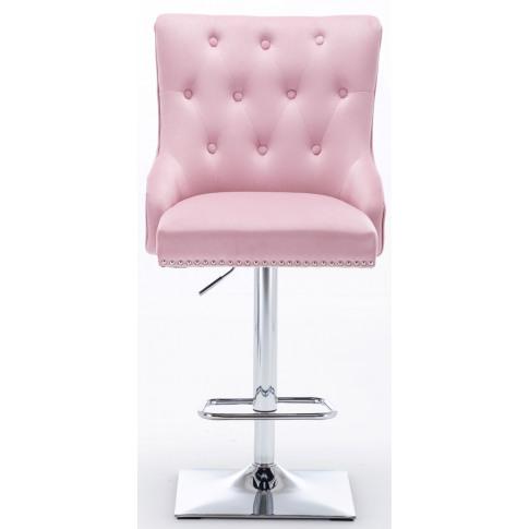 Chelsea Pink Velvet Bar Stool