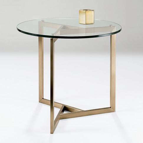 Chelsom Angle Circular Glass Lamp Table