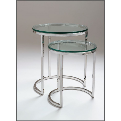 Chelsom Apollo Clear Glass Stainless Steel Nest Of T...