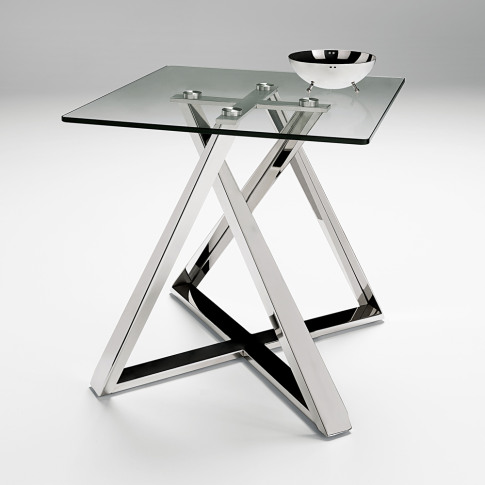 Chelsom Constellation Clear Glasss Square Lamp Table