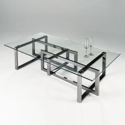 Chelsom Mondrian Rectangular Black Platinum Clear Gl...