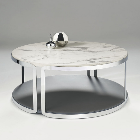 Chelsom Riva Round Carrara Marble Stainless Steel Co...