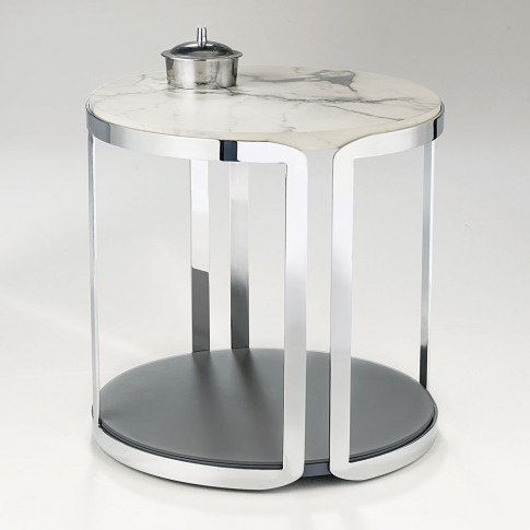 Chelsom Riva Round Carrara Marble Stainless Steel La...