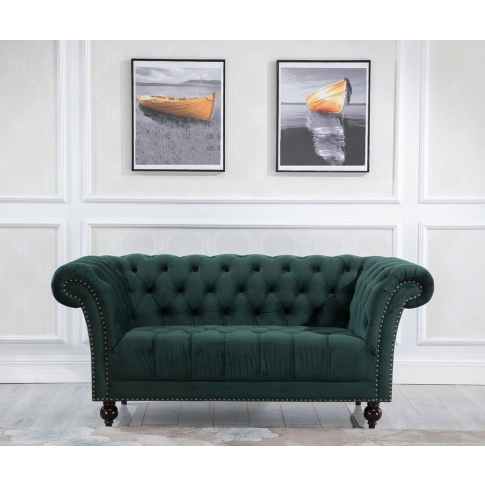 Chester Green Fabric 2 Seater Sofa