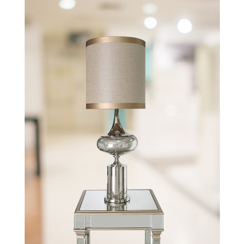 Chrome And Glass Table Lamp With Beige Shade