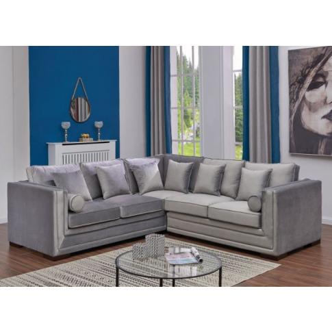 Valiona Silver Velvet Corner Sofa Suite