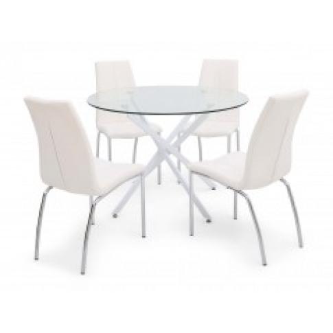 Fairmont Clara Round White Glass Dining Table + 4 Av...