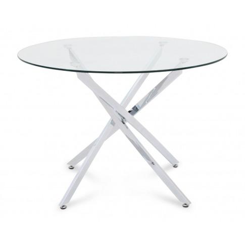 Fairmont Clara 110cm Round Clear Glass Chrome Dining...