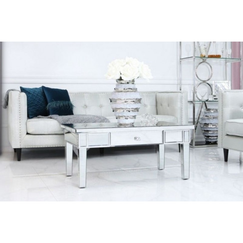 Clinton Bevelled Mirror Silver 1 Drawer Coffee Table