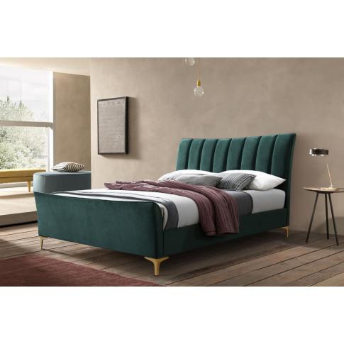 Clover Green Velvet 4ft6 Double Bed