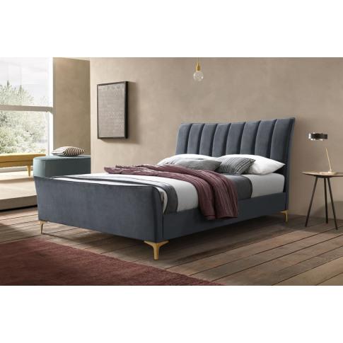 Clover Grey Velvet 4ft6 Double Bed