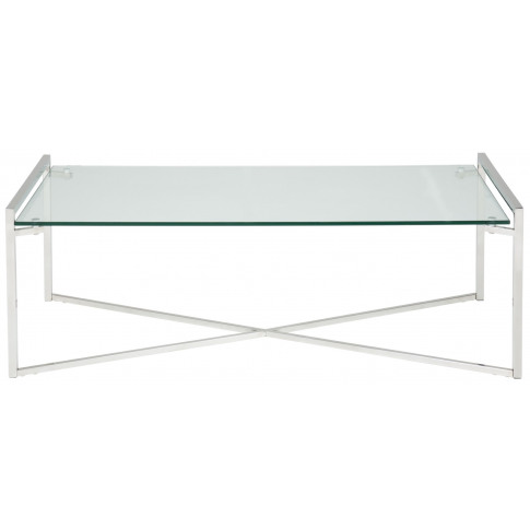 Corin Glass Top With Silver Frame Rectangular Coffee...