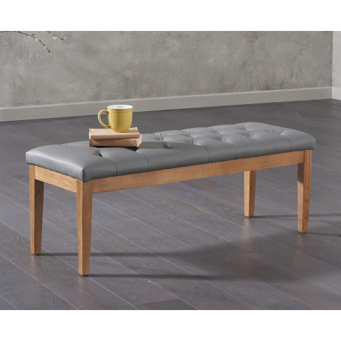 Courtney 150cm Grey Pu Leather Bench