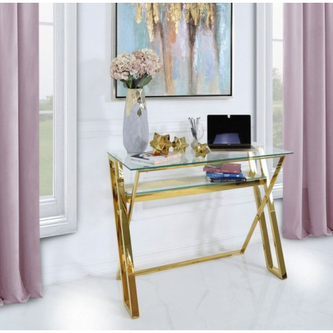 Daisy Glass Gold Steel Desk