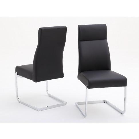 Fairmont Dante Black Leather Dining Chairs Pair