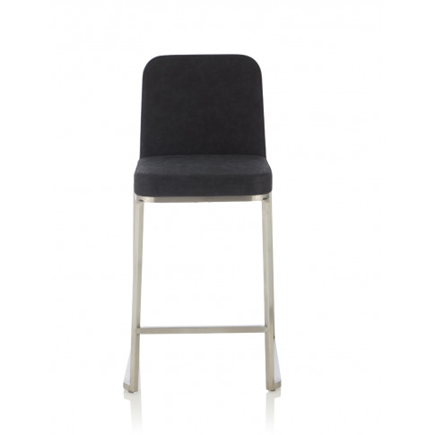Daphne Retro Black Faux Leather Fixed Counter Height Barstool