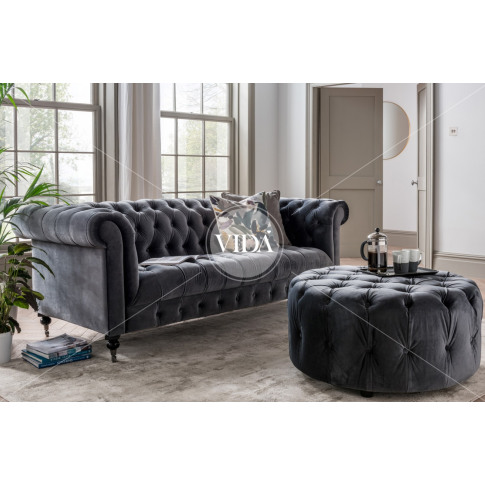 Darby 3 Seater Grey Velvet Fabric Sofa
