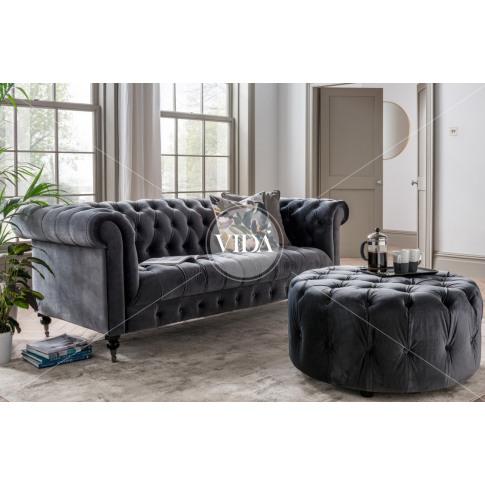 Darby Grey Velvet Fabric Round Footstool
