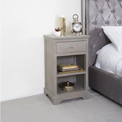 Daytona Taupe Wooden 1 Drawer, 1 Shelf Bedside Cabinet