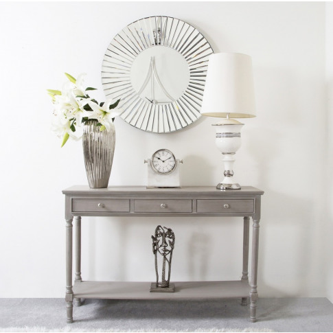 Daytona Taupe Wooden Large 3 Drawer Console Table