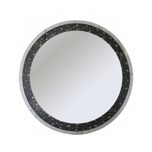 Deco Black Gem Round Wall Mirror