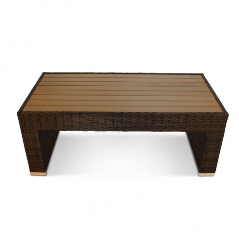 Denby Brown Rattan Coffee Table With Plaswood Top