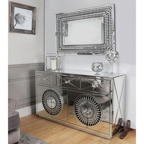 Crystal Mirrored 4 Door Sideboard & Rect Mirror