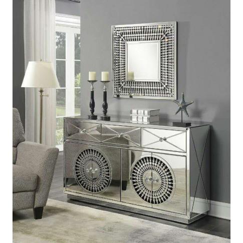 Crystal Mirrored 4 Door Sideboard & Sq Mirror