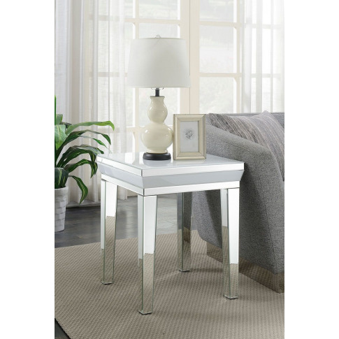 Malibu White Mirrored Lamp Table