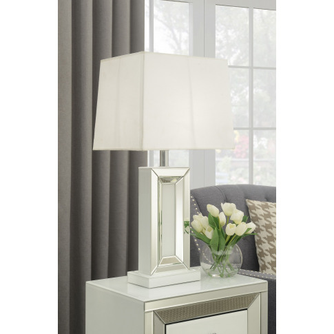 Malibu White Mirrored Table Lamp