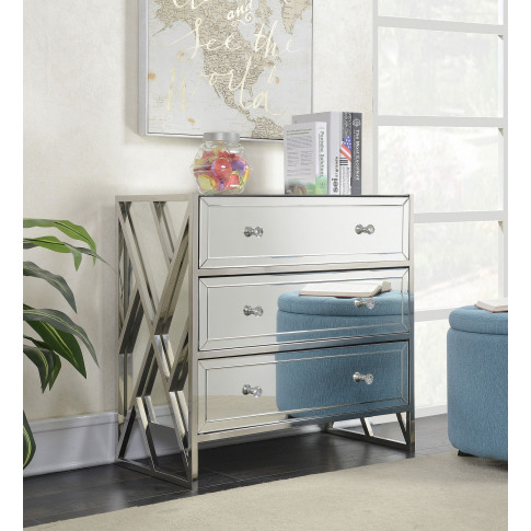 Pacific Chrome Mirrored 3 Drawer Chest