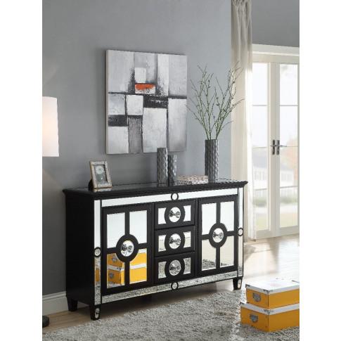 Henley Black Mirrored 2 Doors 3 Drawers Sideboard