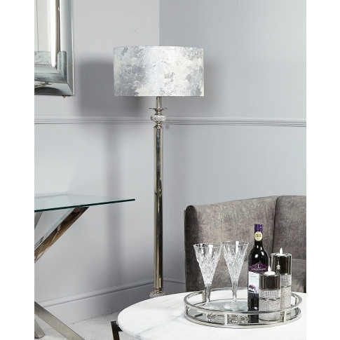 Diamante Nickel Large Candlestick Floor Lamp With Ma...