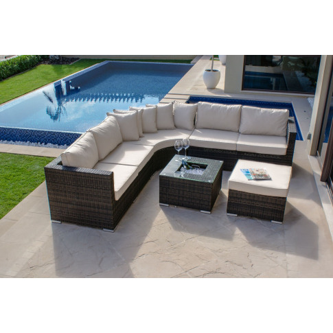 Maze Barcelona Brown Rattan Corner Sofa Group With I...