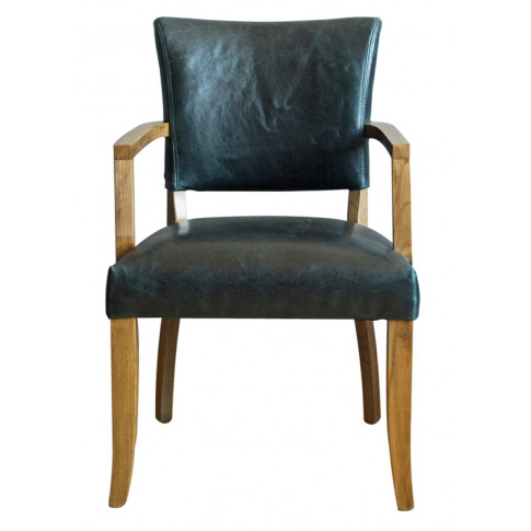 Duke Ink Blue Leather Dining Armchair