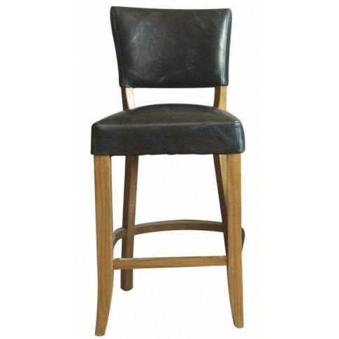 Duke Ink Blue Leather Bar Stool Chair