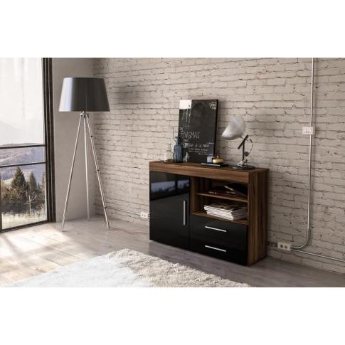 Edgeware Walnut And Black High Gloss 1 Door 2 Drawer Sideboard