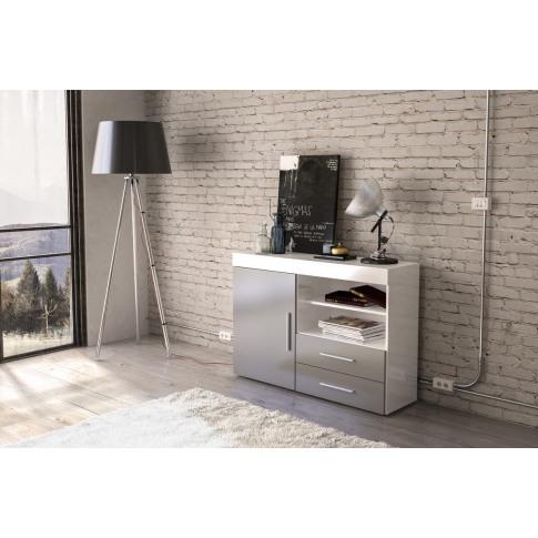 Edgeware White And Grey High Gloss 1 Door 2 Drawer S...
