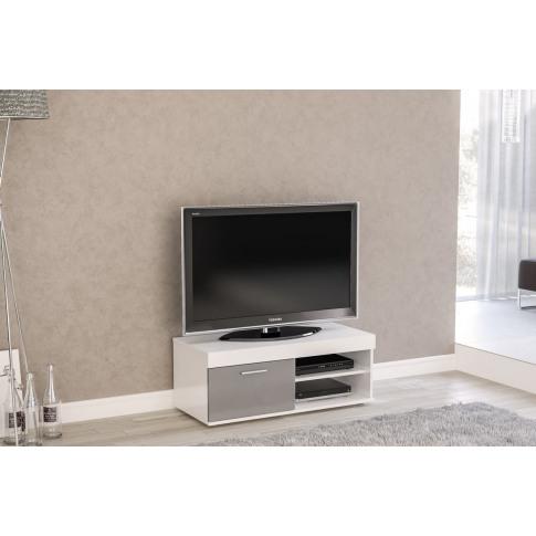 Edgeware White And Grey High Gloss Small Tv Unit