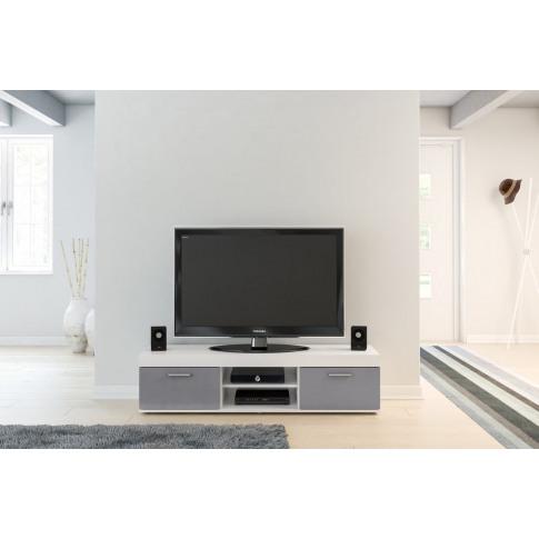 Edgeware White And Grey High Gloss Tv Unit