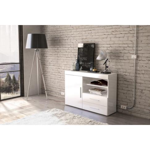 Edgeware White High Gloss 1 Door 2 Drawer Sideboard