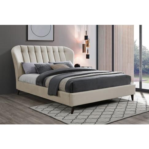 Elm Warm Stone Fabric 5ft Kingsize Bed