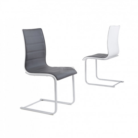 Encore Grey And White Leather Dining Chair