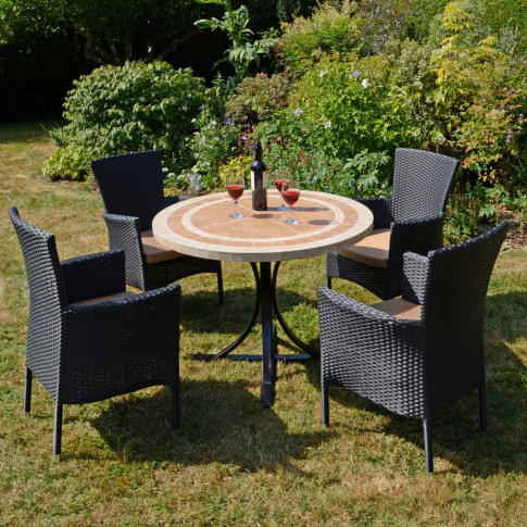 Europa Langley Ceramic Dining Table With 4 Stockholm...