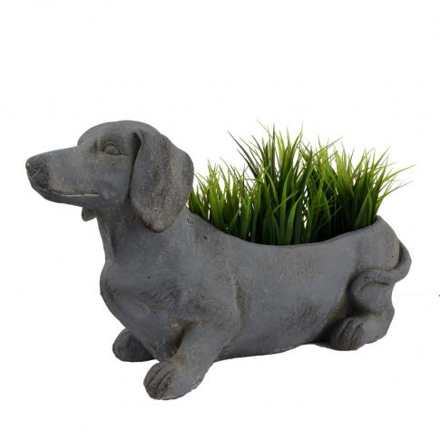 Europa Sausage Dog 30cm Fibre Clay Planter