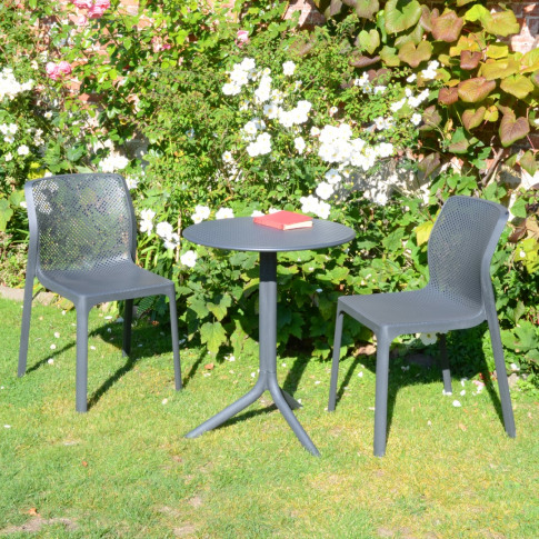 Europa Step Grey Dining Table With 2 Bit Chairs Bist...