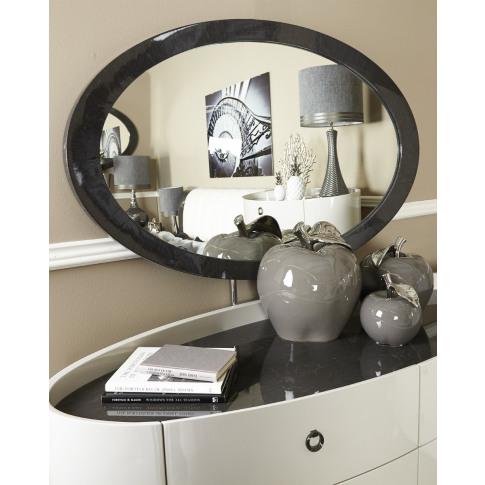 Evelyn Dark Grey Walnut Wall Mirror