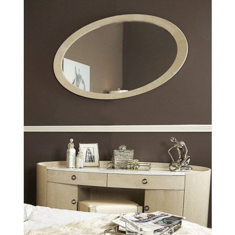 Evelyn Light Ivory Walnut Wall Mirror